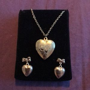 Jewelry - Gold Color Heart Locket Necklace And Earrings